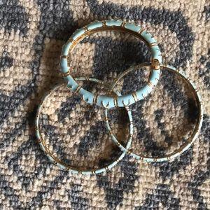Carolina blue and gold enamel bangles